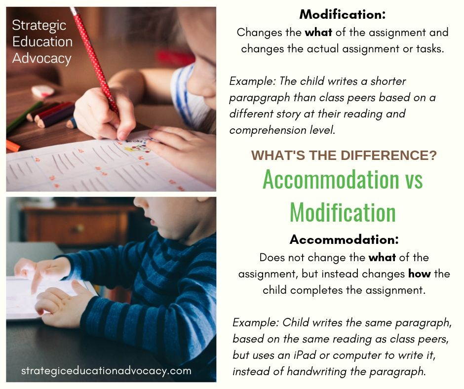 accommodations modifications special education IEP